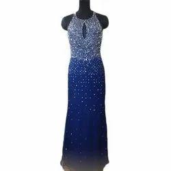 Western Stitched Ladies Blue Halter Neck Party Wear Gown