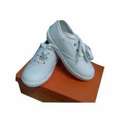 Plain Kids White Canvas Shoes, Size: 6-13