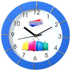 Blue And White Plastic Wall Clock For Home Office, Size: 9 X 9 Inch