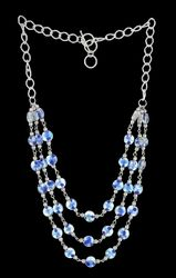 Blue Glass Beads With Silver Chain Necklace