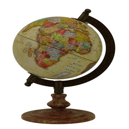 Alsa International Dark Wood And Multi Colour World Globe With Wooden Stand