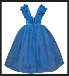 JerrisApparel 2015 New Cinderella Dress Princess Costume Butterfly Girl (7 Years Blue)