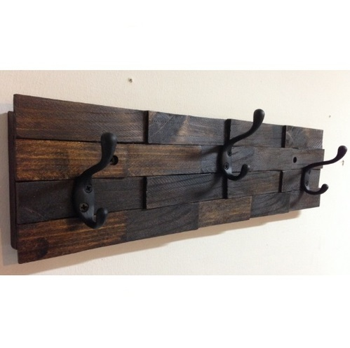 Iron and Wooden Decorative Three Hooks