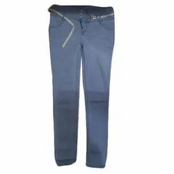 Blue Plain Girls Denim Jeans, Packaging Type: Packet