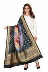 Multicolor Fabric And Lace Jacquard Woven Organza Fabric Dupatta