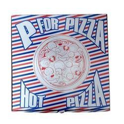 Printed Blue & White Pizza Packaging Corrugated 8 x 8 x 1.5 Inch Box