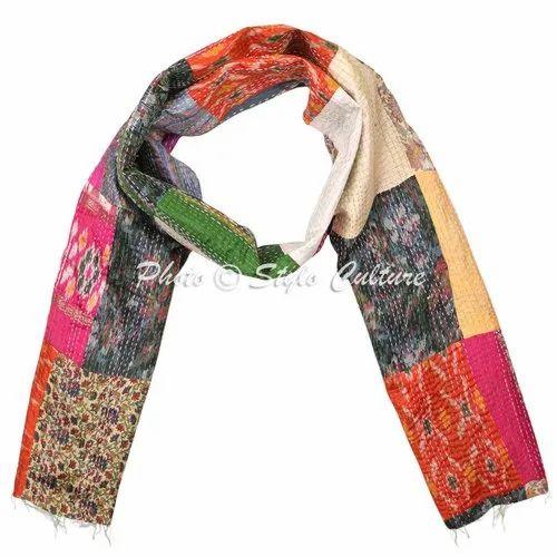 Patchwork Vintage Handmade Kantha Silk Scarf