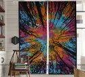 Printed Multicolor Indian Tie Dye Cotton Door Window Valances Curtains Drape, For Home