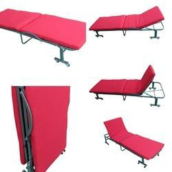 Folding Bed with Mattress - 65 Cm Wide - Tomato Red