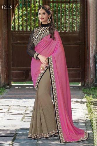 9bc1a62b5781c5 Silk Sarees - Designer Silk Orange Colored Saree Manufacturer from Surat