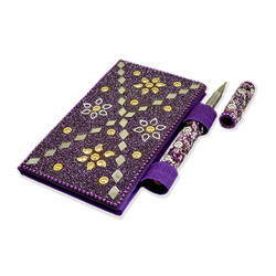 Purple Lac Diary with Mirror Pen