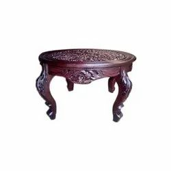 Brown Traditional Round Wooden Table