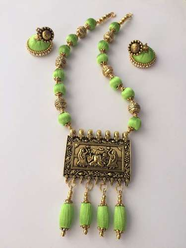 Silk Thread Parrot Green antique pendant necklace in parrot green color