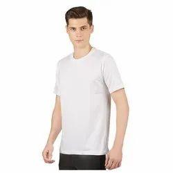 Mens White Plain Round Neck T-Shirt