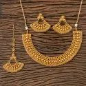 Brass Bollywood Antique Plain Gold Necklace 203248, Size: Regular