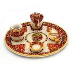 Marble Pooja Thali with Kalash