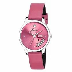 Jainx Pink Day and Date Functioning Analog Watch for Women & Girls JW601