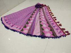 Traditional Bagru Hand Block Printed Saree with Pompom Lace