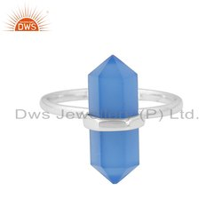 Pencil Cut Blue Chalcedony Gemstone 925 Fine Silver Supplier Ring