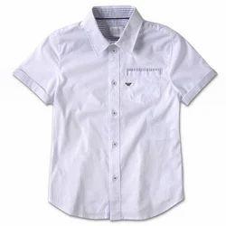 Boys White Kids Plain Shirt