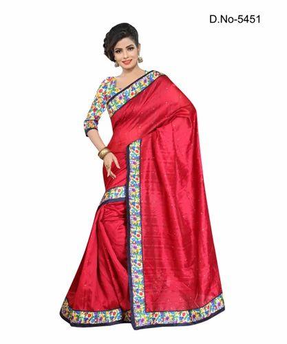 97723b259 Red Colour Block Print Bhagalpuri Cotton Print Saree