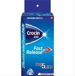 Crocin 650mg Tablet, Packaging Type: Box