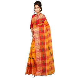 Orange And Yellow Bengali Traditional Saree