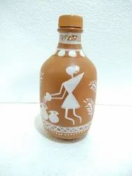 Clay Water Bottle (Varli Painting)