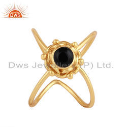 Natural Black Onyx Gemstone 18k Gold Plated Silver 925 Ring Jewelry