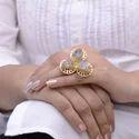 Black Rutilated Quartz Raw Gemstone Gold Plated Ring