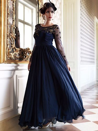 70aae7a0d60 Blue New Embroidered Suit New Arriva Women  s Fashion Designer Party Wear  Gown