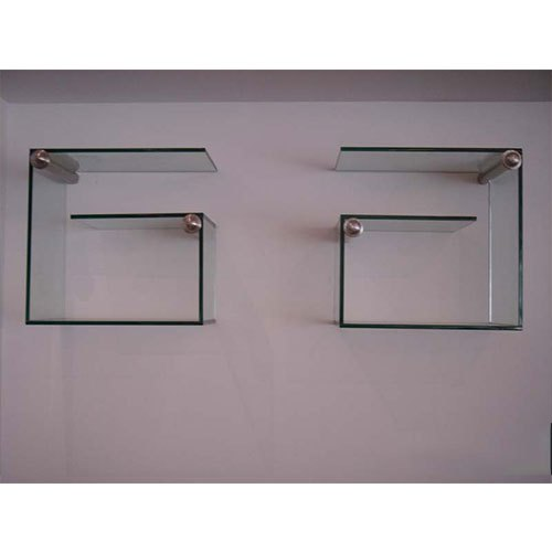 Transparent Wall Mounted Glass Shelves, For Showroom