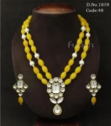 Antique Crystal Stone Pearl Beaded Necklace Set