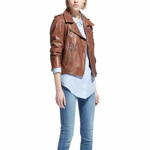 9b28e3f83bcc Women Brown Short Leather Jacket at Rs 4500 /piece | Ladies Leather ...