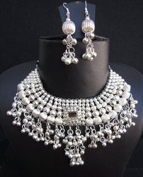 Bollywood Statement Ethnic Metal Necklace Earrings