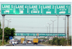 Green & White Highway Toll Plaza Signage Board
