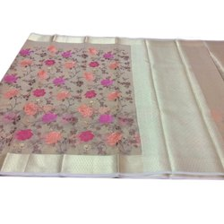 Zia Fashion Embroidered Handloom Kora Silk Ethnic Saree, With Blouse Piece, 5.5 M