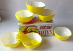 Plastic 6 Small Bowl, Small Spoon Lotus Gift Set