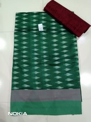 Casual Green Handloom Ikkath Saree Width Blouse