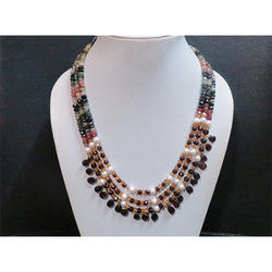 Garnet Multi Tourmaline and Pearl Gemstone Beaded Necklace