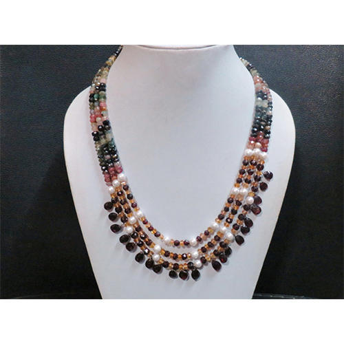 Necklace with pearl pendant gemstones multi tourmaline balls natural color and garnet