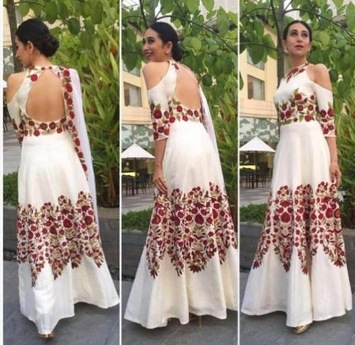 White Heavy Embroidery Work Karishma Kapoor Gown At Rs 1899 Number