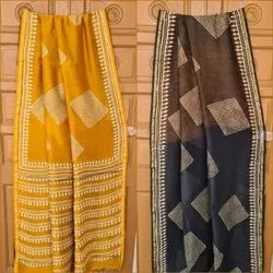 Chanderi Silk Saree Hand Block Printed