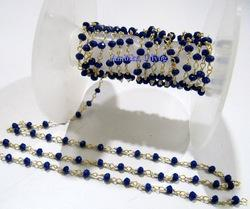 Hydro Quartz Lapis Rondelle Faceted Beaded Chain