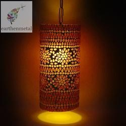 Purple Fluorescent Handcrafted Multicoloured Pipe  Mosaic Glass Hanging Light, 50 W - 100 W
