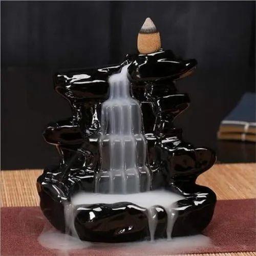 Black Fiber Fountain Statue Showpiece, For Decoration, Size: 12 Inch