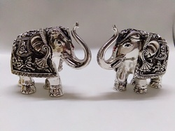 Silver Resin Elephant Statue