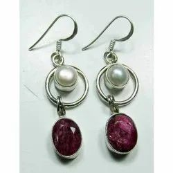 925 Ruby with Pearl Sterling Silver Fashion Earrings Jewelry