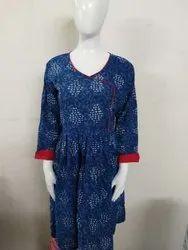 3/4th Sleeve Casual Wear Indigo Cotton Kurti