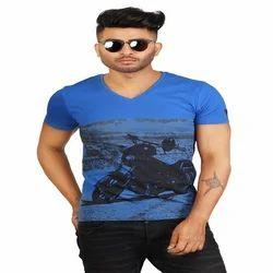 Cotton V-Neck Mens Half Sleeve Printed T Shirt, Size: Small, Medium, Large, XL